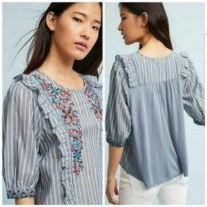 Anthropologie One September Jayden Ruffle Shirt XS